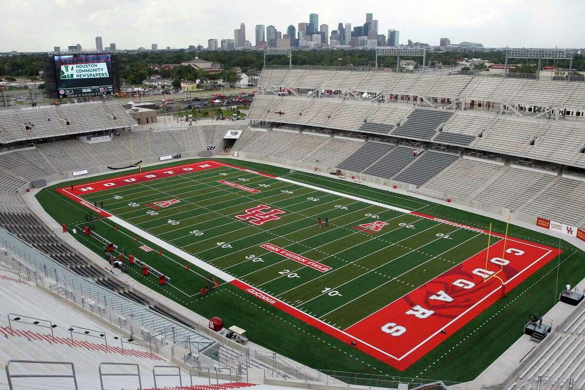 The stadium before Houston Cougars play against Grambling State Tigers on September 6, 2014 at John O'Quinn Field at TDECU Stadium in Houston, TX.