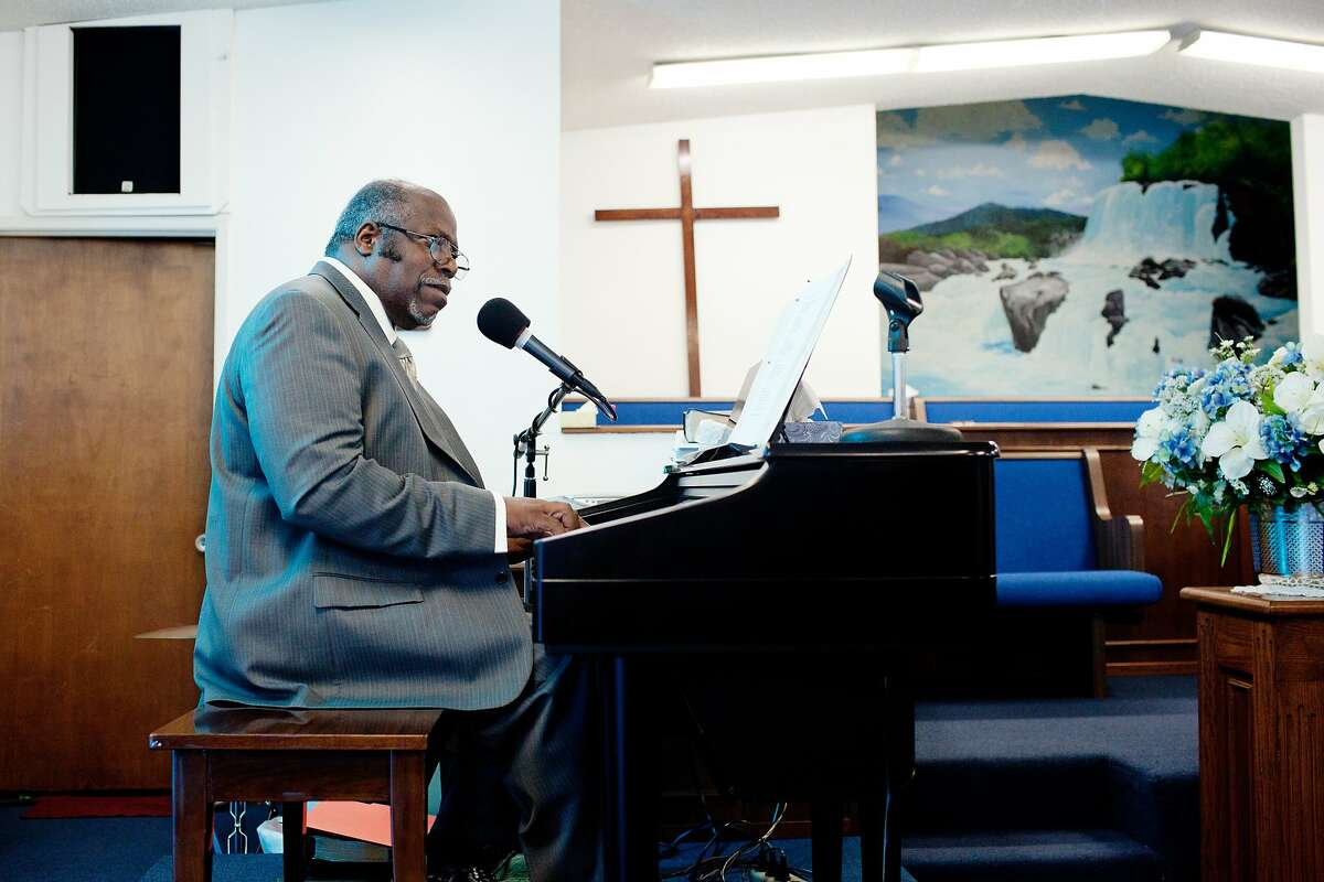 Pastor George Gaskin during the Bethel Baptist Sunday service in Union City, Calif., August 24, 2014. Bethel Baptist is part of a pilot project Kaiser Permanente has undertaken that promotes cancer screening through faith based communities.