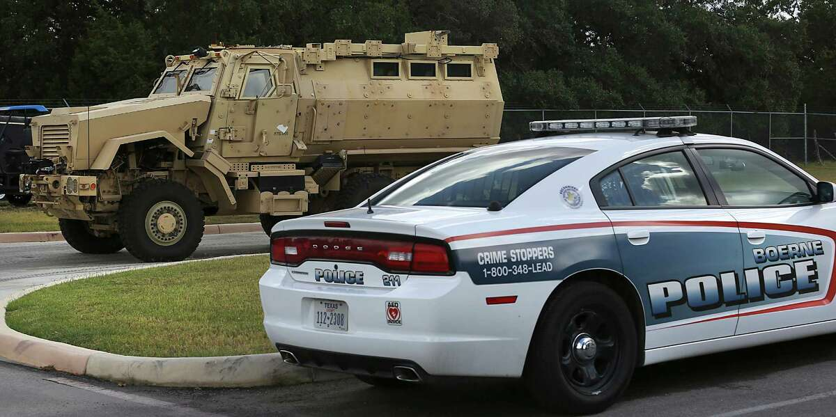 The Boerne Police Department has joined forces with the Kendall County Sheriff's Office and the Fair Oaks Ranch Police Department to form an emergency-response team. The group has received a Mine-Resistant Ambush Protected armored vehicle. The vehicle, which is surplus from the U.S. military, is kept at the Boerne Police Department. Friday, Aug. 5, 2014.