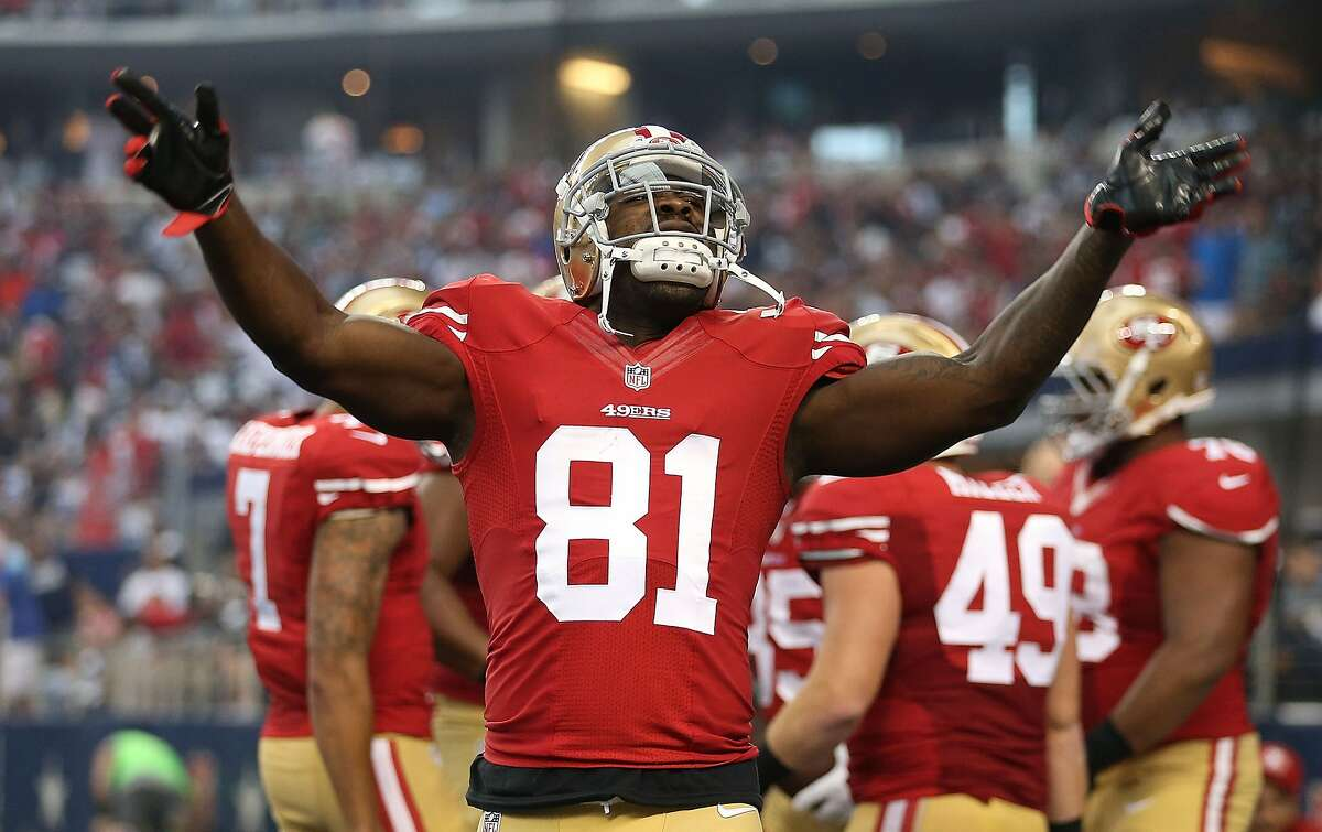 Anquan Boldin celebrates after the San Francisco 49ers scored against the Dallas Cowboys in the first half at AT&T Stadium on September 7, 2014 in Arlington, Texas.
