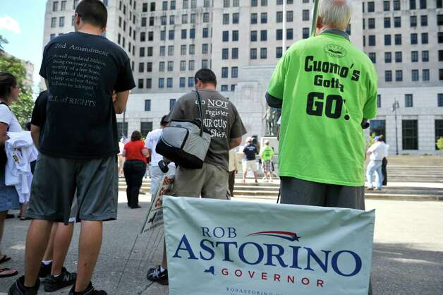 Supporters of Rob Astorino gather for a rally for the Republican gubernatorial candidate, at West Capitol Park on Sunday, Sept. 7, 2014, in Albany, N.Y.  (Paul Buckowski / Times Union) Photo: Paul Buckowski / 00028470A