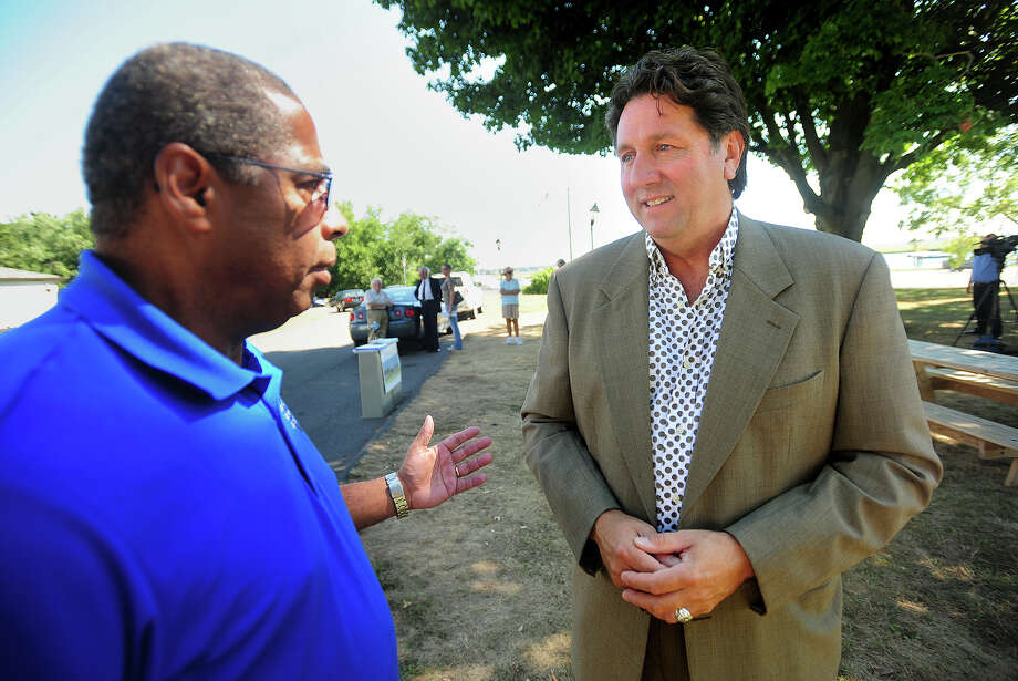 Former Stratford mayoral candidate Joe Paul, left, chats with petition candidate for governor Joe Visconti, of West Hartford, outside the American Shakespeare Festival Theater in Stratford, Conn. on Thursday, September 4, 2014. Visconti, a part-time actor, wants the theater re-opened as a boost to the state's tourism industry. Photo: Brian A. Pounds / Connecticut Post