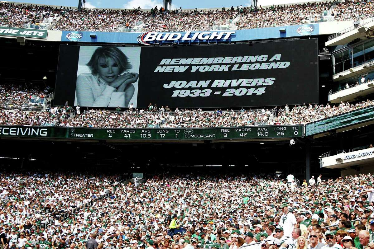 A tribute to Joan Rivers is seen on the video board at MetLife Stadium in East Rutherford, N.J., during a football game Sunday between the New York Jets and the Oakland Raiders.