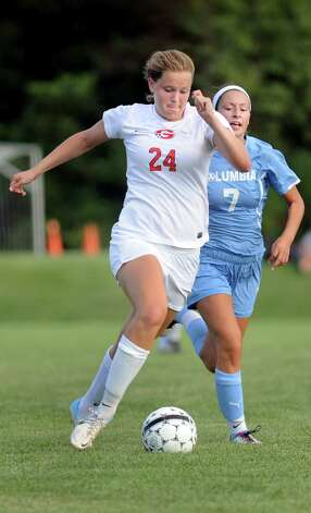 Guilderland's Rebecca Golderman, left, controls the ball as Columbia's Megan Lindemann defends during their soccer game on  Thursday, Sept. 4, 2014, at Guilderland High in Guilderland, N.Y. (Cindy Schultz / Times Union) Photo: Cindy Schultz / 00028463A