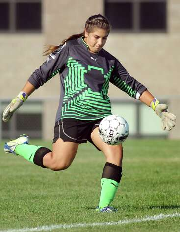 Guilderland's keeper Taylor Dorado sends the ball during their soccer game on  Thursday, Sept. 4, 2014, at Guilderland High in Guilderland, N.Y. (Cindy Schultz / Times Union) Photo: Cindy Schultz / 00028463A