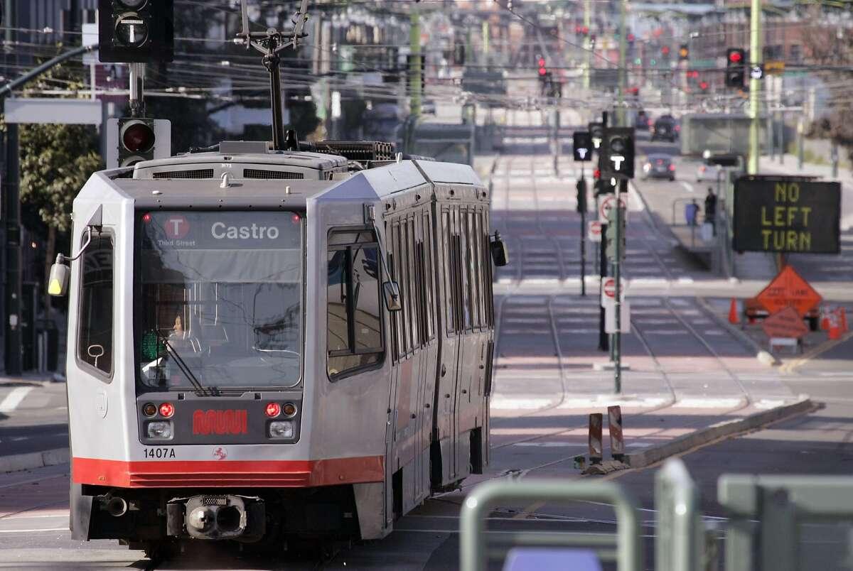 A MUNI streetcar heads North near 18th Street on Third Street on the new T-Third streetcar line in San Francisco, CA, on Saturday, March, 31, 2007.