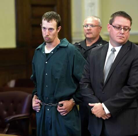 Jacob Heimroth, left, stands with his attorney, Joe Ahearn, during his arraignment Monday on murder charges Monday morning, Sept. 8, 2014, at Rensselaer County Court in Troy, N.Y.   (Skip Dickstein/Times Union) Photo: SKIP DICKSTEIN / 00028502A