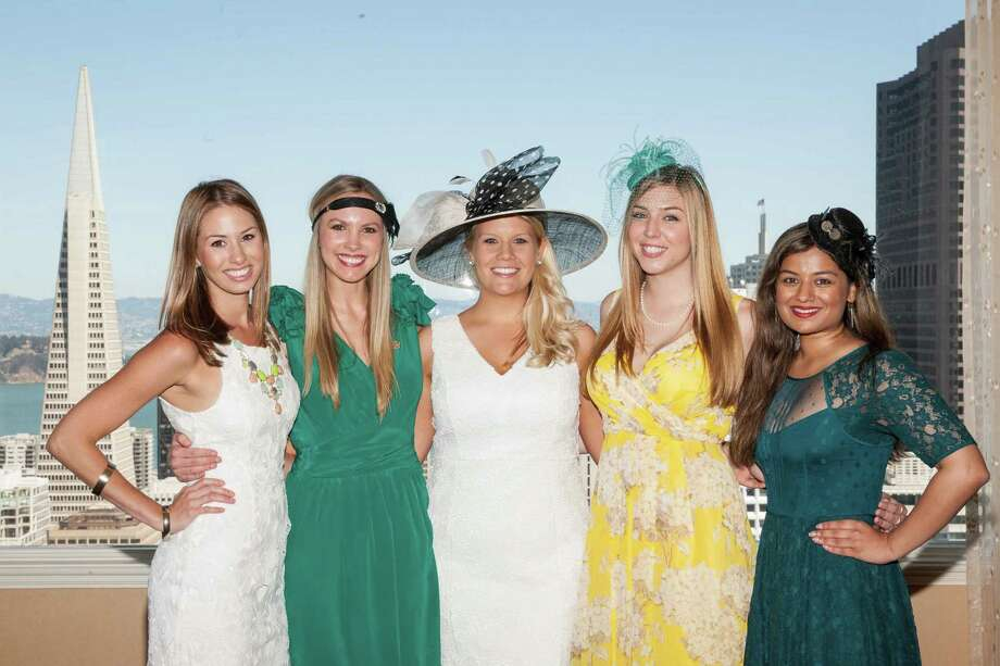 Amanda Haddad, Michelle Bertino, Laura Davis, Alyssa Nordstrom and Priya Saiprasad at the Spinsters of San Francisco annual New Member Tea on August 24, 2014. Photo: Drew Altizer Photography/SFWIRE, Drew Altizer Photography / ©2014 by Drew Altizer, all rights reserved