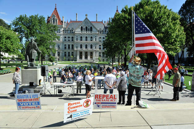 Supporters of Rob Astorino gather for a rally for the Republican gubernatorial candidate, at West Capitol Park on Sunday, Sept. 7, 2014, in Albany, N.Y.  (Paul Buckowski / Times Union) Photo: Paul Buckowski, Albany Times Union / 00028470A