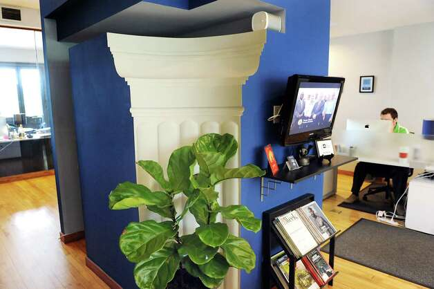 A recessed column in the reception area on Wednesday, Sept. 3, 2014, at Gramercy Communications in Troy, N.Y. (Cindy Schultz / Times Union) Photo: Cindy Schultz / 00028425A