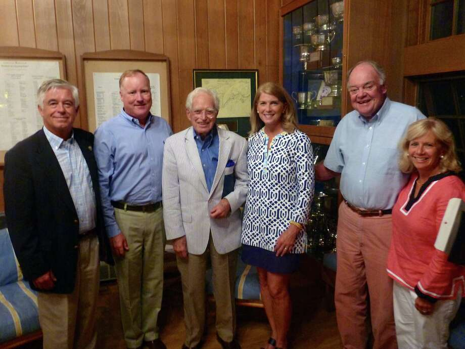 Selectmen Kip Hall, from left, and Jerry Nielsen, Commissioner Link Jewett, First Selectman Jayme Stevenson, Commissioner Sandy McDonald and Selectman Susan Marks. Photo: Contributed Photo, Contributed / Darien News Contributed