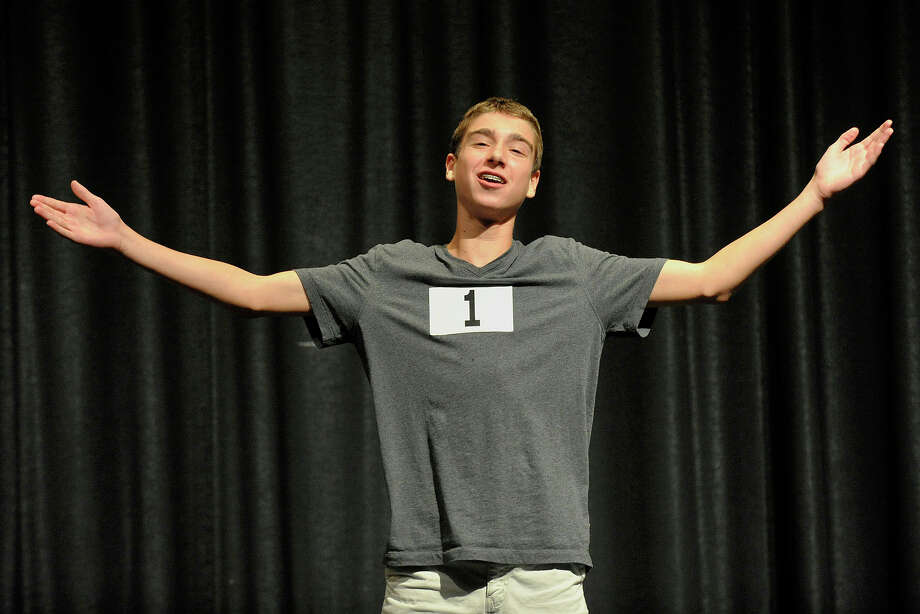 "Jayce Schwartz is the first to perform during tryouts for the annual Stamford All-School Musical presentation of The Addams Family musical at Rippowam Middle School in Stamford, Conn., on Monday, Sept. 8, 2014. If you are apprehensive about performing before an audience, Schwartz says, ""If you're nervous, you'll mess up."" Performances will take place in mid-December. For more information go to http://www.stamfordallschoolmusical.org. Photo: Jason Rearick / Stamford Advocate"