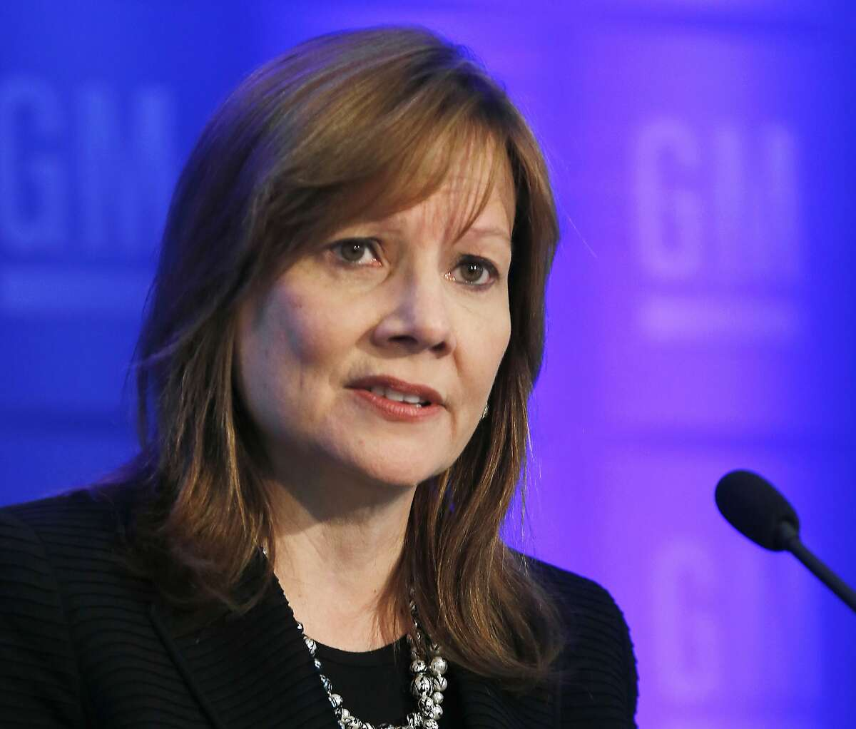 FILE - In this June 10, 2014 file photo General Motors CEO Mary Barra speaks to shareholders in Detroit. Barra is the keynote speaker Sunday, Sept. 7, 2014 at an intelligent transportation conference in Detroit. GM and other automakers will announce new devices that will make roads safer. The devices are steps toward self-driving cars in the future. (AP Photo/Paul Sancya, File)