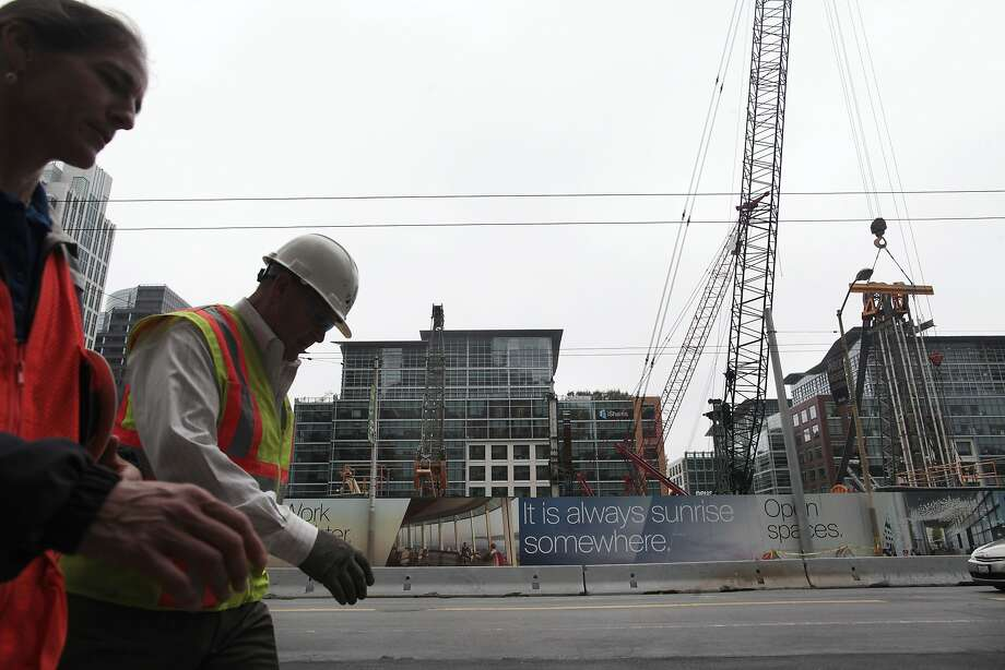 As work on the Transbay Terminal continues, developers of nearby properties are balking at the tax rate they would pay in a proposed Transbay Transit Community Benefits District. Photo: James Tensuan, The Chronicle
