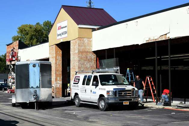 The former Feather's Furniture store on Hoosic Street shows the renovation taking place Monday Sept. 8, 2014, in Troy, N.Y. It will become an Ace Hardware store.    (Skip Dickstein/Times Union) Photo: SKIP DICKSTEIN / 00028511A