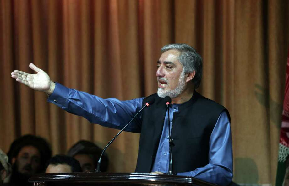 Afghan presidential candidate Abdullah Abdullah said Monday he would not accept the findings of auditors scrutinizing the nation's election results.  Photo: Massoud Hossaini, STF / AP