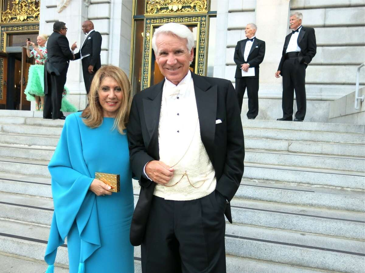 Athena Blackburn (in vintage Pierre Cardin) and her husband, Opera trustee Timothy Blackburn.