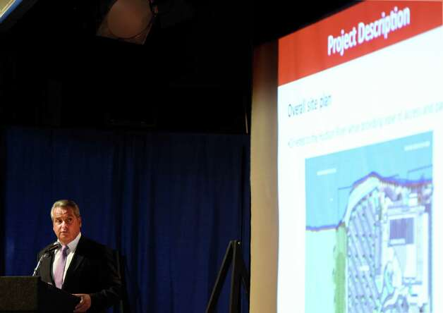 James Allen, Chairman of Hard Rock International details his proposal for the Hard Rock casino which would be placed in Rensselaer Monday afternoon Sept. 8, 2014 at hearings put on by the casino board in Albany, N.Y.     (Skip Dickstein/Times Union) Photo: SKIP DICKSTEIN / 00028226A