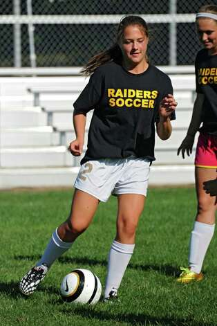 Colonie girls soccer player Sarah DiBernardo, one of the team's captains, dribbles the ball during practice on Monday, Sept. 8, 2014 in Colonie, N.Y. (Lori Van Buren / Times Union) Photo: Lori Van Buren / 00028508A
