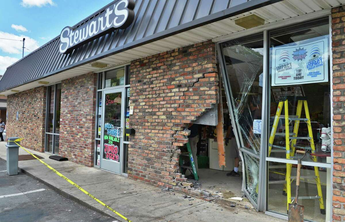 Damage done to the Stewart's Shop at 120 Nott Terrace in Schenectady after a car drove into the building Thursday May 17, 2012. (John Carl D'Annibale / Times Union)