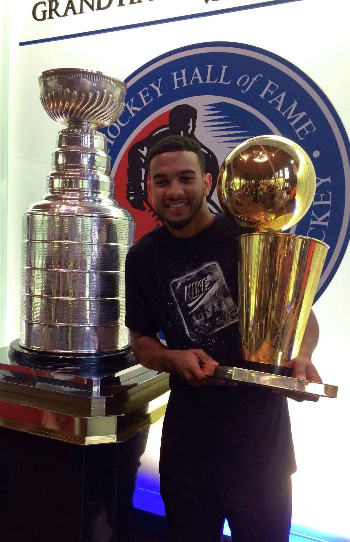 """Spurs guard Cory Joseph took """"Larry"""" to see another trophy, the NHL's Stanley Cup."""