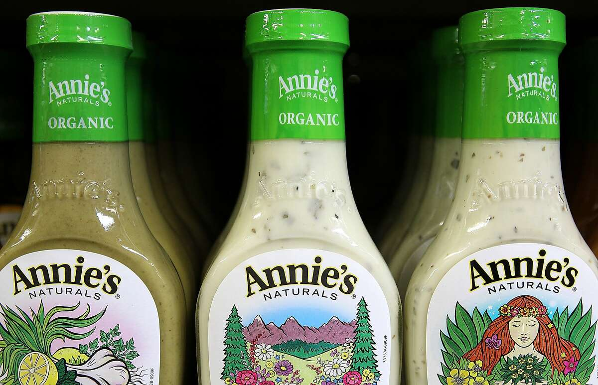 FILE - SEPTEMBER 8, 2014: It was reported that General Mills will buy Annies for $204 million BERKELEY, CA - MARCH 28: Bottles of Annie's Naturals salad dressing are seen displayed on a shelf at Berkeley Bowl on March 28, 2012 in Berkeley, California. In its trading debut, stock shares for organic and natural food maker Annie's Inc. surged as high as 77 percent to $33.54 per share after an IPO of $19 a share. (Photo by Justin Sullivan/Getty Images)