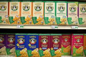 FILE - SEPTEMBER 8, 2014: It was reported that General Mills will buy Annies for $204 million BERKELEY, CA - MARCH 28:  Boxes of Annie's shell pasta are seen displayed on a shelf at Berkeley Bowl on March 28, 2012 in Berkeley, California. In its trading debut, stock shares for organic and natural food maker Annie's Inc. surged as high as 77 percent to $33.54 per share after an IPO of $19 a share.  (Photo by Justin Sullivan/Getty Images)