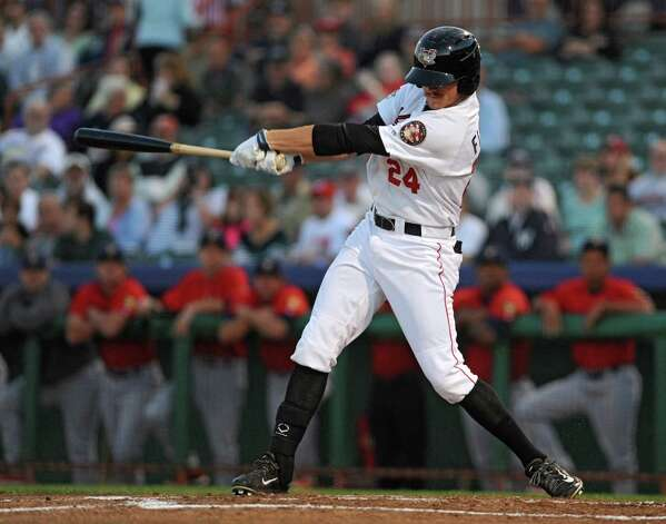 Tri-City ValleyCats batter Derek Fisher hits a single during game 2 of the New York-Penn League championship series against State College Spikes at Joe Bruno Stadium on Monday, Sept. 8, 2014 in Troy, N.Y. (Lori Van Buren / Times Union) Photo: Lori Van Buren / 00028500A