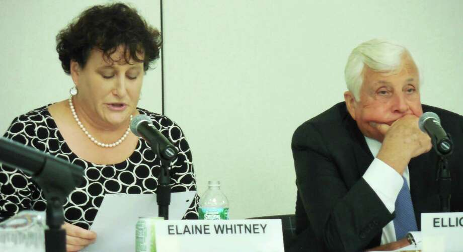 Board of Education Chairwoman Elaine Whitney, left, added an agenda item to Monday's budget - discussion of a proposal for a new capital projects policy. Superintendent of Schools Ellioit Landon is on the right. Photo: Anne M. Amato / westport news