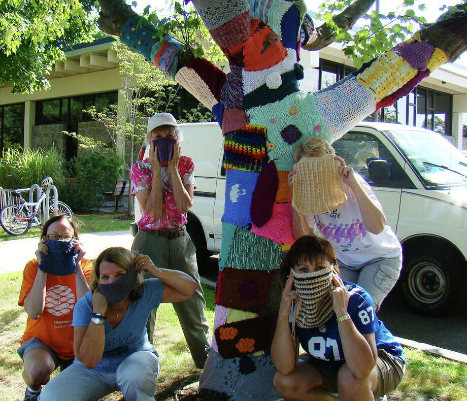 "Masked knitters ""yarn bombed"" a tree outside the Fairfield Woods Branch Library to draw attention to the library's 45th anniversary this month. Photo: Contributed Photo /  Fairfield Citizen contributed"