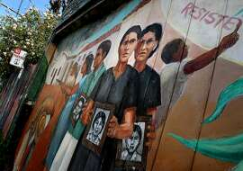 """A detail from the mural """"Culture Contains the Seed of Resistance"""" by Miranda Bergman and O""""Brien Thiele located in Balmy Alley."""