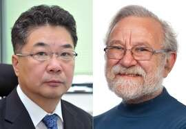 This combination of undated photos provided by the The Albert and Mary Lasker Foundation shows Kazutoshi Mori of Kyoto University in Japan, left, and Peter Walter of the University of California. The pair will share the Lasker award for basic medical research, the foundation announced Monday, Sept. 8, 2014. They made key discoveries about how cells detect and deal with their proteins that have not been folded correctly, which can make them harmful.