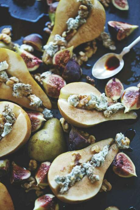 """Fresh Pears and Figs with Gorgonzola Honey from """"Central Market's 20th Anniversary Cookbook."""" Photo: Central Market / Centarl Market"""