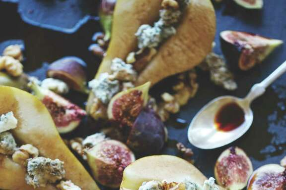 "Fresh Pears and Figs with Gorgonzola Honey from ""Central Market's 20th Anniversary Cookbook."""
