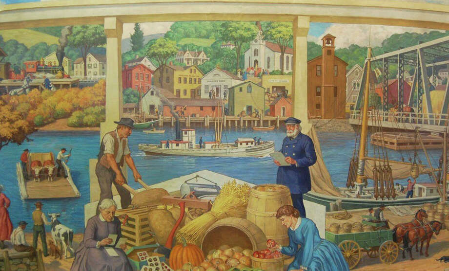 The Slice of Saugatuck Festival this Sunday will feature old photos of the area, historic items and a copy of the, currently being restored, Saugatuck Mural by Robert Lambdin,which is shown in the photo. Photo: Contributed Photo / westport news