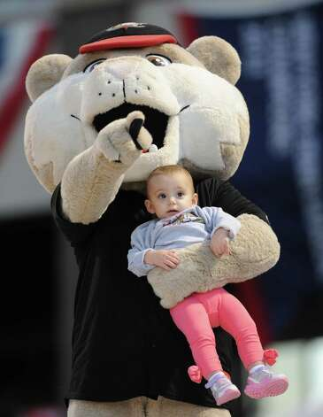 Tri-City ValleyCats mascot Southpaw holds an infant while walking on the dugout during game 2 of the New York-Penn League championship series against State College Spikes at Joe Bruno Stadium on Monday, Sept. 8, 2014 in Troy, N.Y. (Lori Van Buren / Times Union) Photo: Lori Van Buren / 00028500A