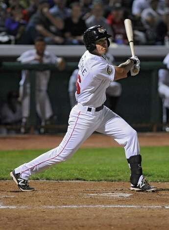 Tri-City ValleyCats batter Jamie Ritchie watches after hitting the ball during game 2 of the New York-Penn League championship series against State College Spikes at Joe Bruno Stadium on Monday, Sept. 8, 2014 in Troy, N.Y. (Lori Van Buren / Times Union) Photo: Lori Van Buren / 00028500A