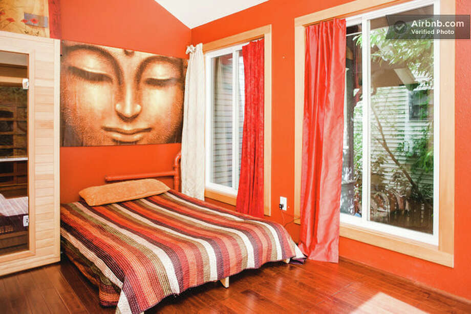 """This West Seattle """"Zen Den"""" is a detached suite complete with a far-infrared sauna and a private deck with a fire pit. Photo: Airbnb"""