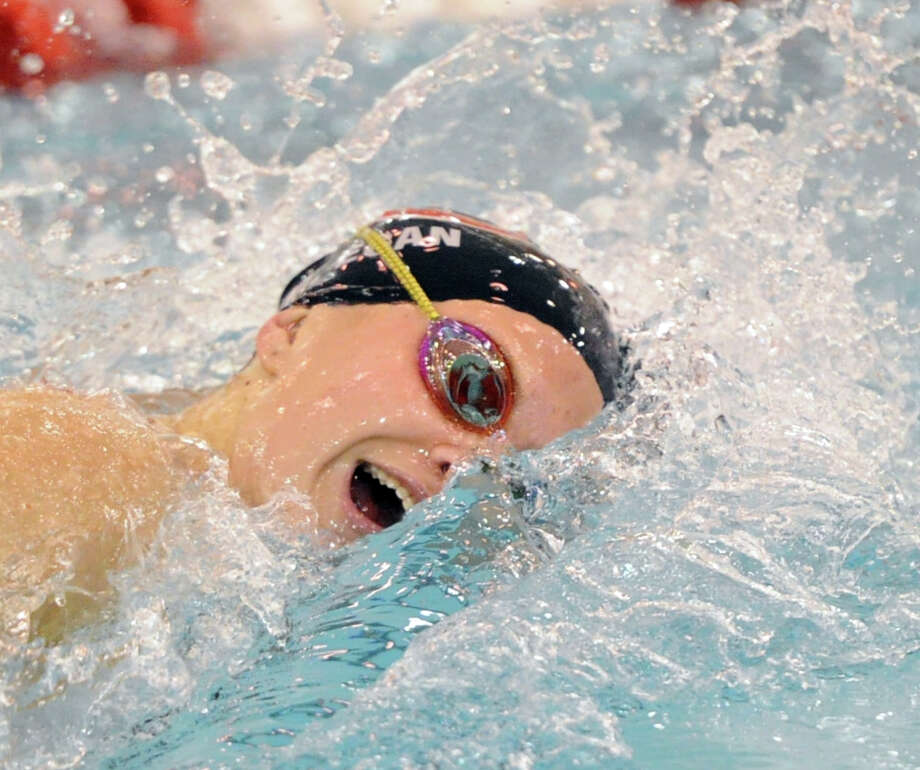 New Canaan's Megan Egan swims during the 200 freestyle event in the FCIAC girls swim championship at Greenwich High School on Wednesday, Oct. 30, 2013. Photo: Bob Luckey / Greenwich Time