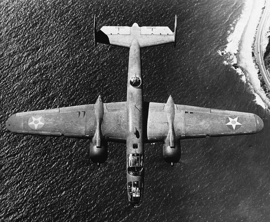 A U.S. B-25 Mitchell bomber flies over the coast of Britain on Jan. 25, 1943. Photo: AP / AP