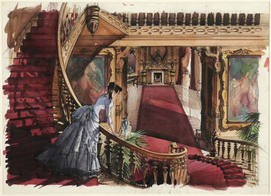 "Paintings depicting set concepts, such as Scarlett O'Hara's bedroom, are part of an exhibit marking ""Gone with the Wind's"" 75th anniversary at the Harry Ransom Center at UT Austin. Photo: Courtesy Harry Ransom Center"