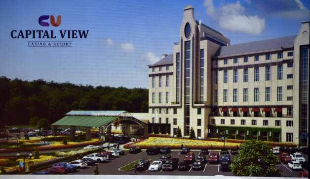 Photo of artist's rendering of the Capital View Casino and Resort shown Monday afternoon Sept. 8, 2014 at hearings put on by the casino board in Albany, N.Y.     (Skip Dickstein/Times Union) Photo: ALBANY TIMES UNION
