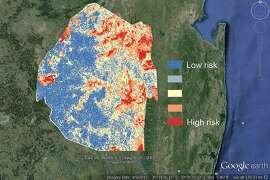 Prototype map showing risk of malaria in Swaziland during the transmission season, based on data from 2011-2013.