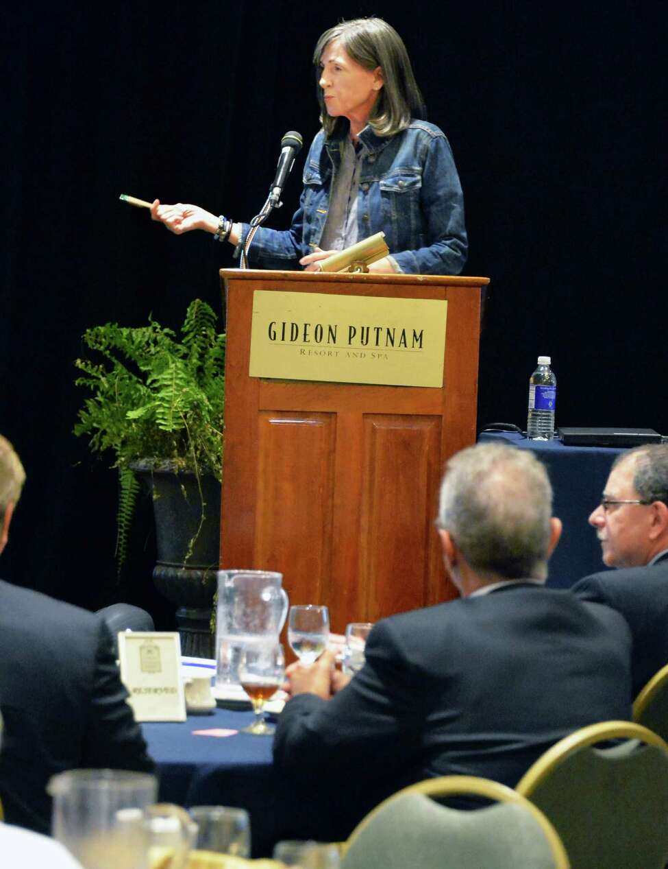 Former Clinton EPA head, Carol M. Browner, now a member of the Leadership Council of Nuclear Matters, addresses the Independent Power Producers of New York's Annual Fall Conference at the Gideon Putnam Resort Tuesday. Sept. 9, 2014, in Saratoga Springs, N.Y. (John Carl D'Annibale / Times Union)