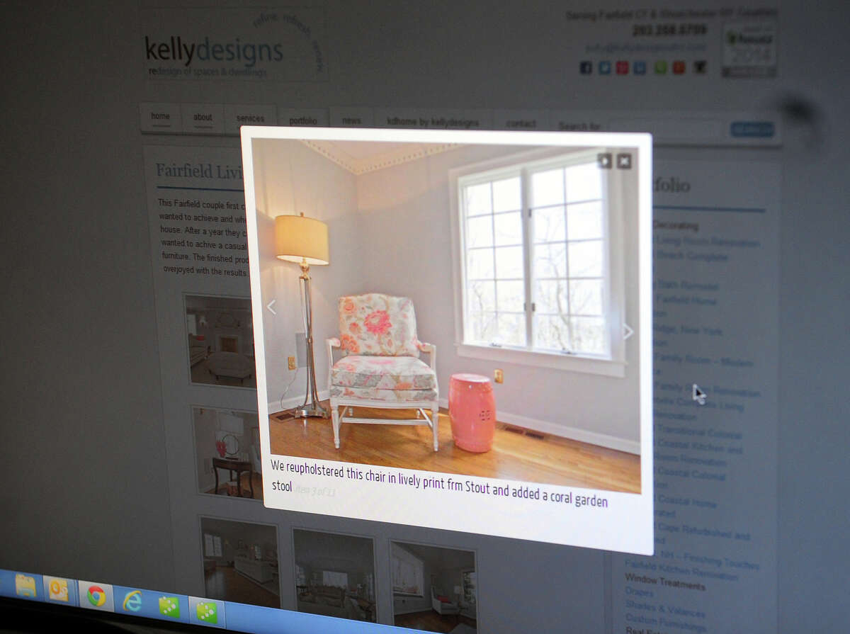 An example of interior designer Kelly Manthey-Sohigian's work is seen on her website at her home in Fairfield, Conn. on Tuesday September 9, 2014. She runs an interior design business serving Fairfield and Westchester Counties called kellydesigns.