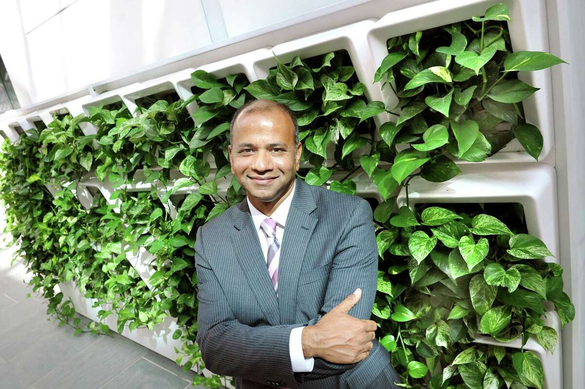 Deepak Vashishth, director of the Center for Biotechnology and Interdisciplinary Studies, by the Green Wall on Tuesday, Sept. 9, 2014, at Rensselaer Polytechnic Institute in Troy, N.Y. (Cindy Schultz / Times Union)