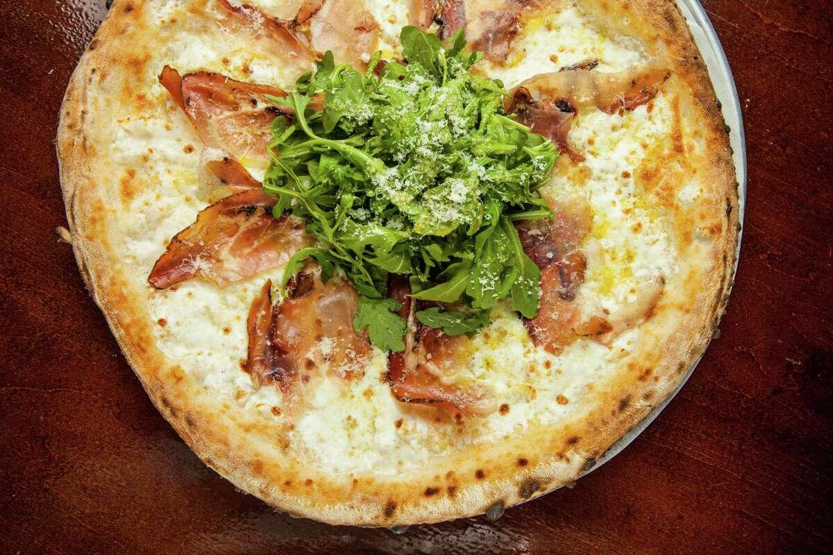 Pizaro's Pizza Napoletana's arugula with speck pizza, photographed, Tuesday, July 22, 2014, in Houston. ( Nick de la Torre )
