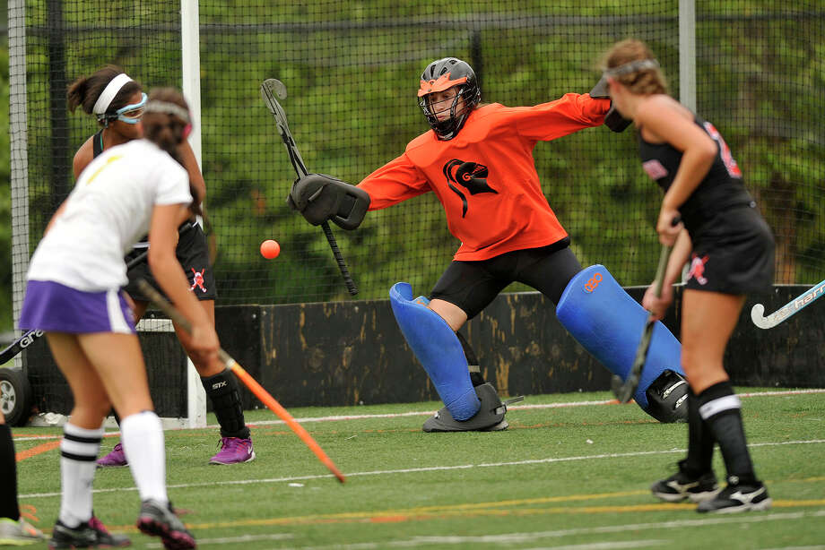 Stamford goalie Rebecca Rakowitz unsucessfully attempts to stop a shot during the Black Knights' field hockey game against Westhill at Westhill High School in Stamford, Conn., on Tuesday, Sept. 9, 2014. Westhill won, 3-0. Photo: Jason Rearick / Stamford Advocate