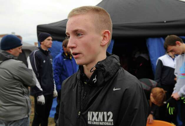 Aidan Tooker of Saratoga talks about his sixth place finish in the Class A State high school cross country championships on Saturday Nov. 9, 2013 in Queensbury, N.Y. (Michael P. Farrell/Times Union) Photo: Michael P. Farrell / 00024515A