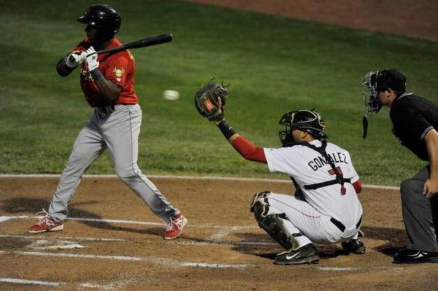 ValleyCats catcher Alfredo Gonzalez reaches up to catch a pitch during the final game of the New York-Penn League Championship at Joe Bruno Stadium on Tuesday, Sept. 9, 2014, in Troy, N.Y.  (Paul Buckowski / Times Union) Photo: Paul Buckowski / 00028501A